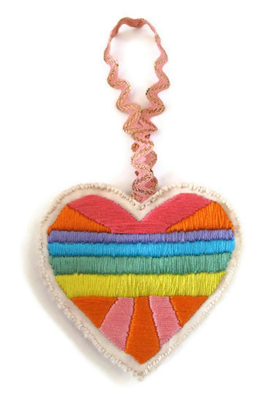 Valentine's Day heart ornament geometric embroidered 80s style color block bold and bright