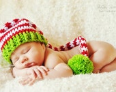 Crochet Red and White Striped  with Green Trim Baby Long Tail Elf Hat - Photo Prop - made to order