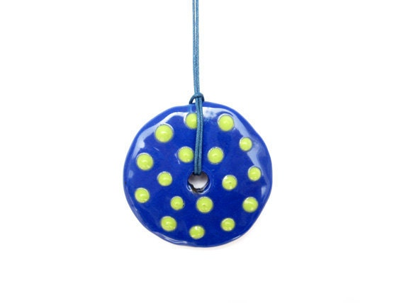 Blue Ceramic pendant, Geometric Pendant, Polka Dots Pendant, Blue Clay Circle