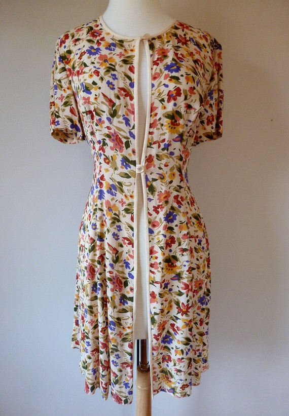 90's Cynthia Rowley Dress Grunge Floral Coverup Duster M