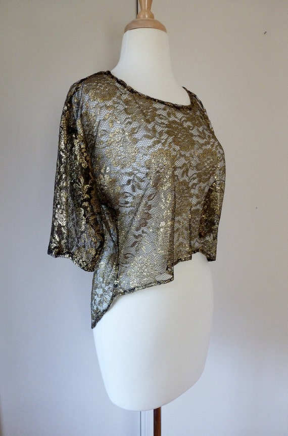 80's Sheer Lace Mullet Crop Top Asymmetrical Shirt Gold Black S