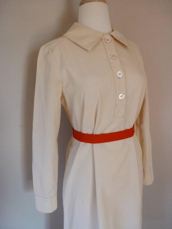 60's Dalton Dress Cotton Creme Mod Dolly Shirt Dress M