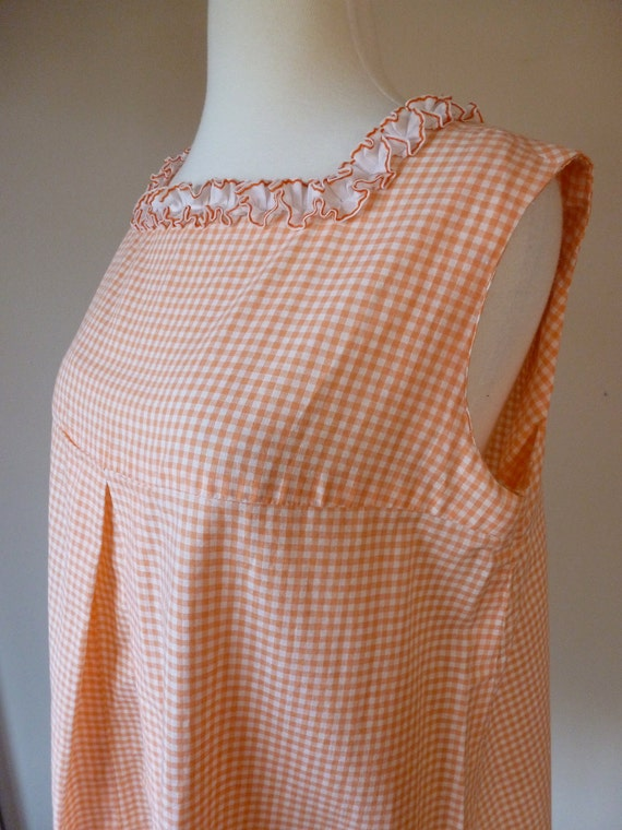 60's Maternity Top Orange Gingham Tent Blouse M L
