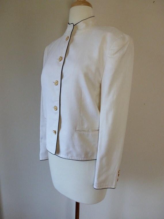 80's Louis Feraud Military White Linen Blazer 8