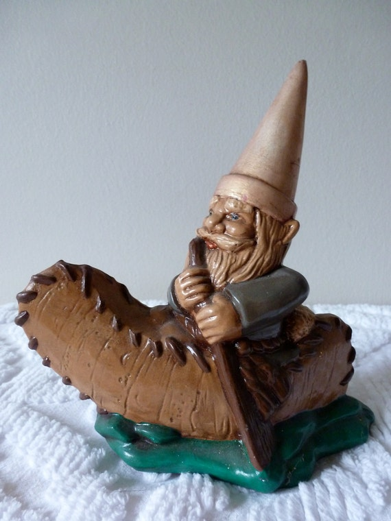 Reserved until 10/11 70's Gnome Figurine Gnome on a Canoe