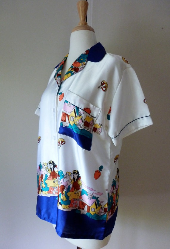 80's Snow White Blouse Novelty Print Silky Pajama Shirt L XL