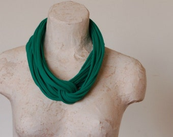 Green Infinity scarf - Tshirt Necklace - By LimeGreenLemon