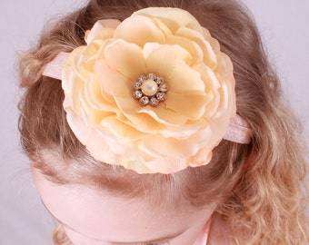 READY TO SHIP: Melon Melody Stretchy Flower Headband - Peach  - Fits toddler to adult - Cutie Patootie Designz