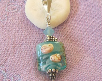 Perfect Small Aqua Beachy Pendant with Sea Urchin Design on Lampwork Bead, Ocean, Artisan Sealife Bead with Sand