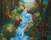 Original Landscape painting - Wooded Creek at SunSet- 5x7 original expressive landscape art, home decor