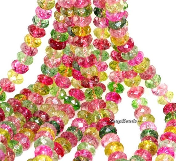 Caribbean Sunrise Crackle Rock Crystal Gemstone Faceted Rondelle 8X5MM Loose Beads 16 inch Full Strand (90119789-112)