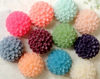 SPECIAL OFFER --- 20 Pieces (10 Pairs) of 15 mm Resin Dahlia Flower Cabochons of Assorted Colours (.sg)