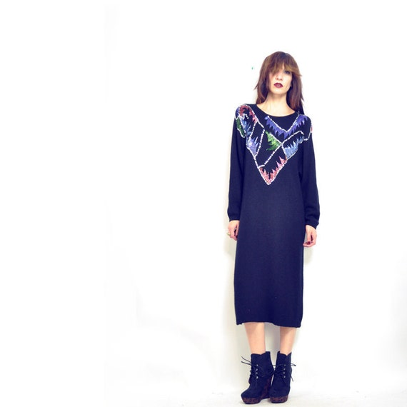 RESERVED flash sale: ViNTAGE ANGORA TROPHY Dress / long black sweater / colorful sequin / beaded / avant garde / xs - m