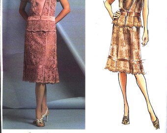 2005 DKNY DONNA KARAN New York  Vogue American Designer  Pattern v2877 Sz 6-10  Beautiful Lace Skirt and Top New Uncut