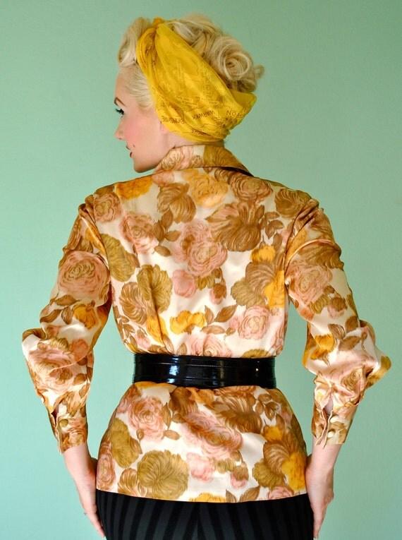Vintage Gold Floral Jacket 1950s 1960s Mad Men Style