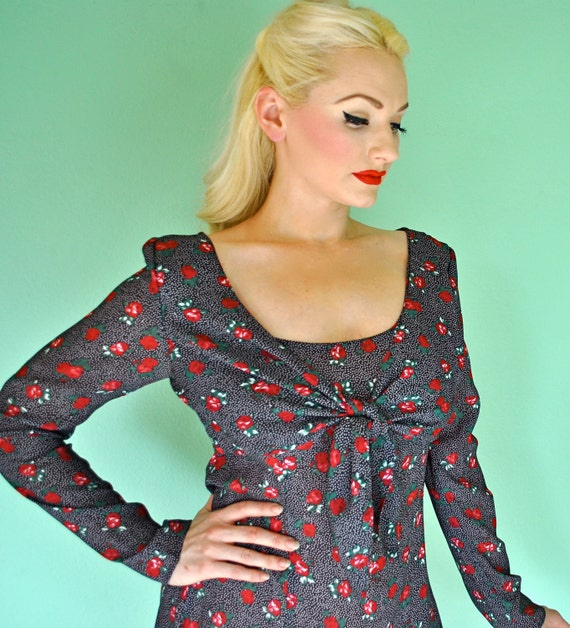 Reserved for MindeMonster Baby Doll Dress with Polka Dots and Roses - Front Tie Bow for Rockabilly Pinup