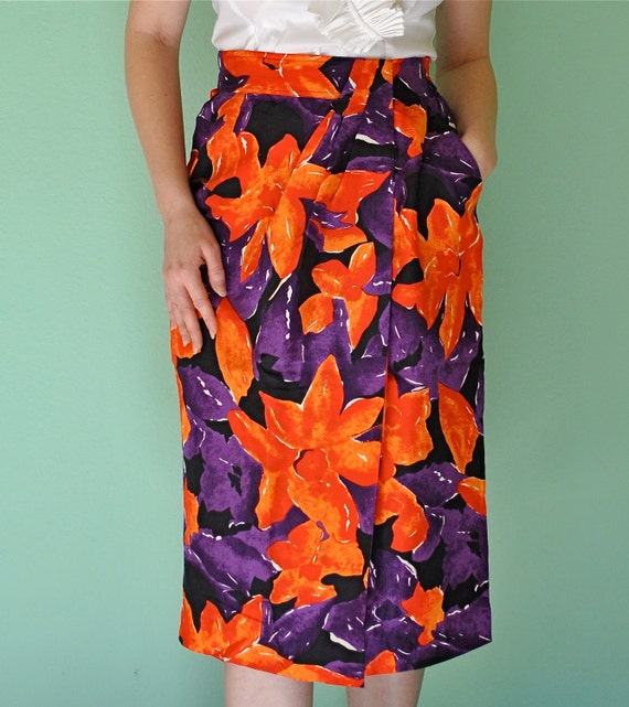 Rockabilly Tropical Hawaiian Hibiscus Wrap Skirt - High Waist Knee Length - Tiki Island Pinup