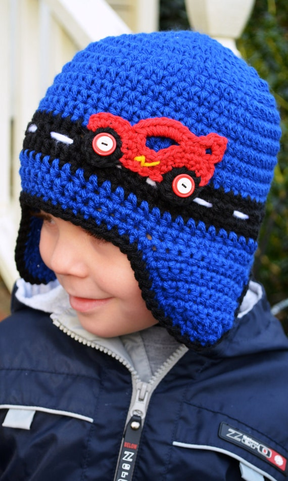 Crochet - RACE CAR HAT with earflaps