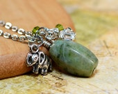 Lucky Elephant Charm Trio Necklace - Green Quartz Gemstone Pendant with Silver Charm Dangle & Swarovski Crystal Cluster Accent, Silver Chain