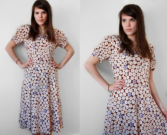 70s Floral Print Dress / Wild Daisies / Flowers / Princess Puff Sleeves / Brown Dress with White, Lilac and Canary Yellow