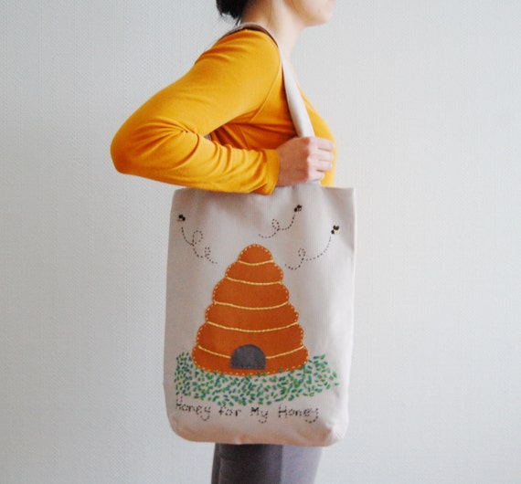 Canvas tote bag. Cotton bag/purse. Large bag with embroidery. Shopping bag.  Honey For My Honey.