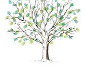"""Wedding guestbook - guests leave thumbprints to form tree leaves - """"Grand Oak"""""""