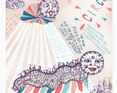 The Story of the Moon Caterpillar (in coral, jade, turquoise) - circus print