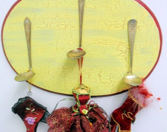 Victorian Oval Wall Plaque, Repurposed Spoon Hooks, Gentle Yellow Crackle Paint and Burgundy Trim, 4 piece ensemble
