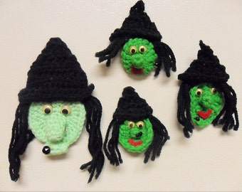 Halloween Crochet Witch, Magnets, Ornaments,Treat, Brooch, Applique, Buy 1 get 3 free, Free S&H