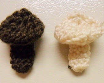 Mushrooms, Crochet Kitchen Refrigerator Magnets,TWO, Gift Topper, FREE shipping