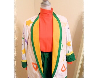 Clown Costume, Unisex, Reversible Two Piece, Tails, Green and Yellow and Orange Suit, Medium,Large pockets