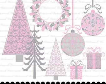 Christmas digital scrapbooking clip art damask digital clipart silver pink : h1055 & 3s17