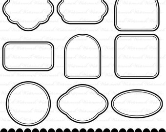Digital frame clip art black clipart square rectangle circle oval black and white : e0147 v001