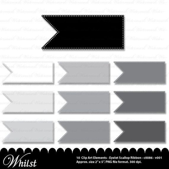 Eyelet ribbon Clipart clip art digital  journal tag embellish : c0086 & v001 black gray white