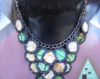 "OOAK - Green Motif - Upcycled Magazine Collage and Beer Cap Motif on Chain Necklace  ""Boulevard Pattern"""