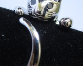 Silver Plated Adjustable Cat Ring with Black Zirconia Eyes - FREE SHIPPING