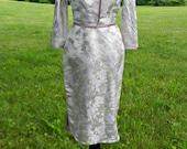 Cheogsam Style Silk Wiggle Dress with Matching Crop Jacket XS/S