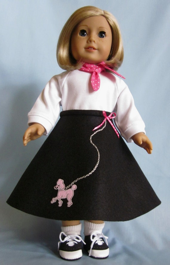 American Girl Doll Clothes - Poodle Skirt, Top and Scarf, Doll Skirt, Doll Poodle Skirt, Pink Poodle on Skirt