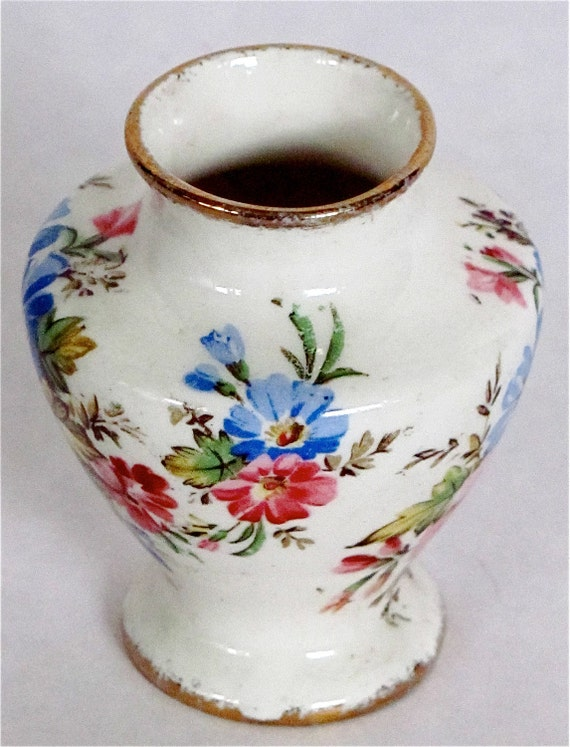 "JAMES KENT Miniature Vase, Longton, England, C1920 Gold Gilt:  (2-1/2"" tall  X  2-1/4"" wide)"