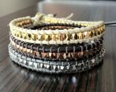 SET OF THREE Beaded Leather wrap bracelets with nugget beads, leather bracelets, faceted nugget bracelets,