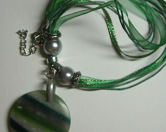 Necklace: Green Striped Pendant on Green Ribbon Chord