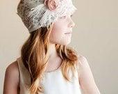 Deco: Flower girl or bridesmaid headband - vintage wedding  - 1920s wedding lace headband - feather headband for wedding
