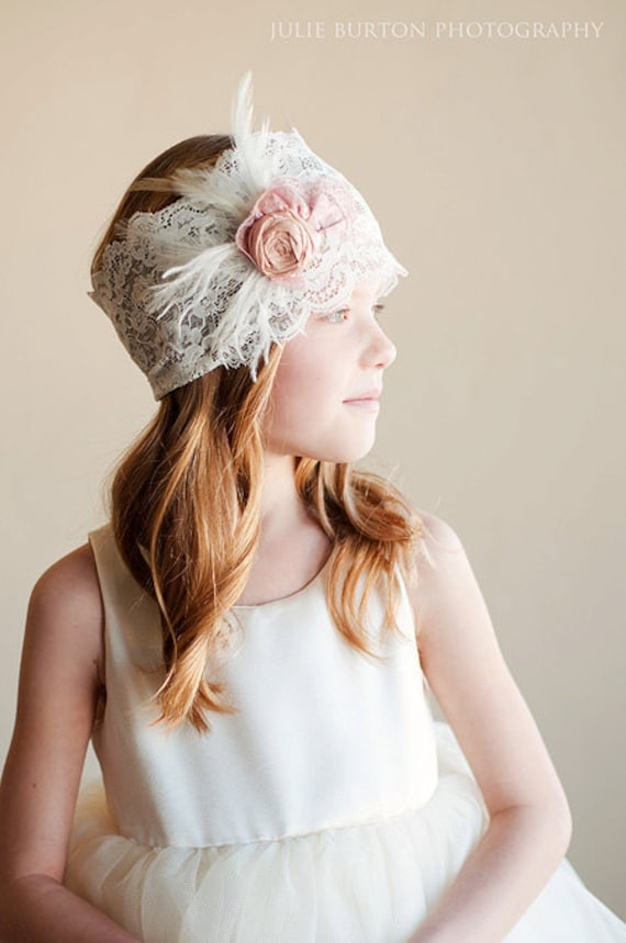 Deco: Flower girl or bridesmaid headband - vintage wedding  - 1920s wedding lace headband - feather headband for wedding
