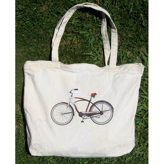 "Zippered Cotton Canvas Tote Bag // Natural // Original Retro Beach Cruiser Bike Design // 18"" x 14"" // Perfect for Beach, Gym & Groceries"