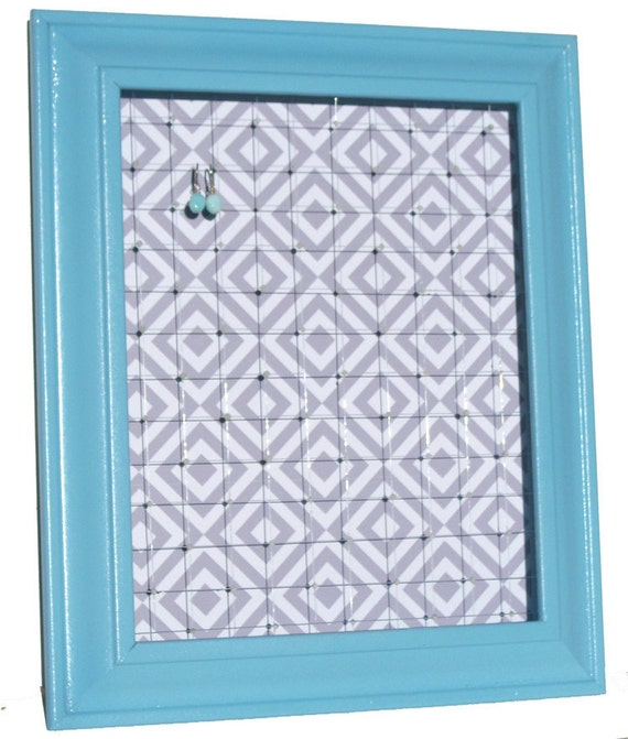 Jewelry Storage // Large Earring Display Frame // Organize, Store & Hang Earrings // Aqua Blue, Gray, White Diamond // Recycled Eco-Friendly