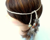 Natural Hippie Headband with feathers, soft suede leather, and polished wishing rock. pheasant, tan, brown, white, black, blue. Boho. OOAK