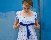 Vintage Blue Flowers Embroidery and Dots Cotton Day Dress