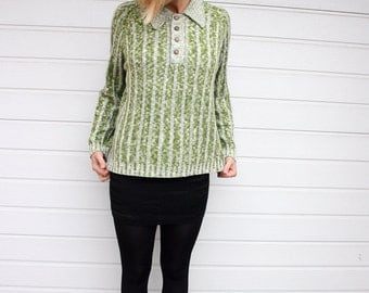 Green Vintage Striped Sweater