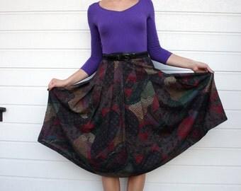 Vintage Pleated High Waist Midi Skirt
