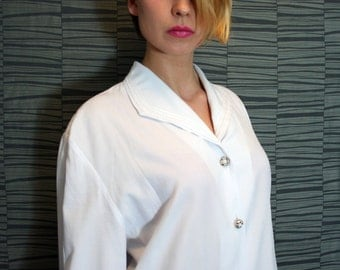 Vintage 80s White Trimmed Blouse